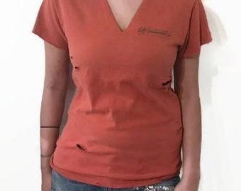 Vintage distressed Orange T-Shirt Cut out V Choker Ripped Tee Fit Small and Medium