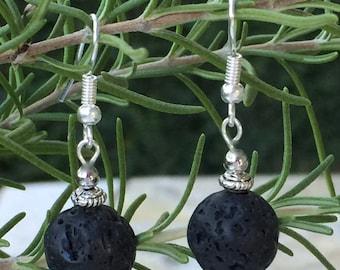 Black Lava Rock Dangle Earrings, Lava Rock Beads, Black Dangle, Lava Stone Jewelry, Silver Lava Rock Earrings, Black Earrings, Lava Stone