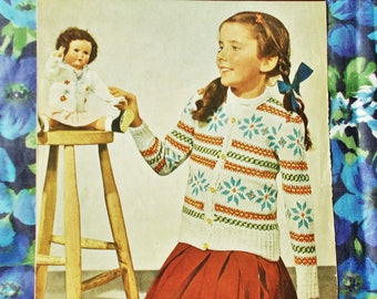 Original Vintage GoldenEagle Knitting Pattern - Early 1950's - Pattern no. 913 - Girl's Fair Isle Cardigan - Age 8 to 10 years - used