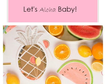 Let's Aloha Baby! Party in a box with custom printed banner