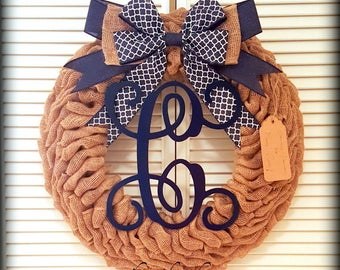 Fall Wreath-Monogram Wreath-Fall Monogram Wreath-Front Door Wreaths- Front Door Fall Wreath-Initial Wreath-Housewarming Gift-Rustic Wreath