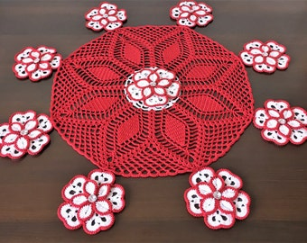 Red napkins - knitting crochet napkin - openwork crochet - table topper - table runner lace - rustic decor - table mat - round tablecloth.