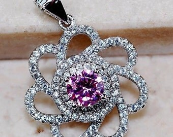 GORGEOUS 2 CT Pink Sapphire & White Topaz Pendant in Sterling Silver!
