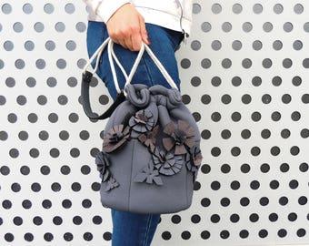 Grey shoulder purse, everyday shoulder bag, women shoulder bag grey, vegan grey bag, grey shoulder bag handmade, waterproof shoulder bag