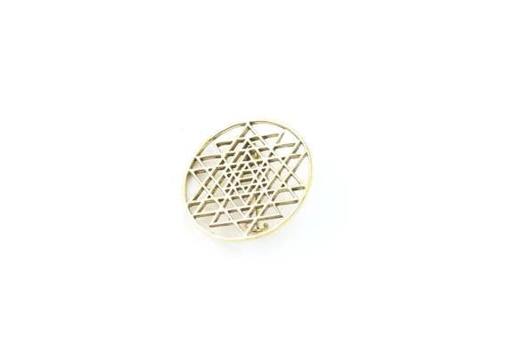 Sri Yantra Pin, Hat Pin, Festival Wear, Festival Pins, Festival Jewelry, Sacred Geometry