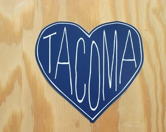 Tacoma WA Heart Custom Die Cut Vinyl Sticker---Blue