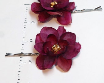 floral hair piece, plum gold hair pins, prom hair, plum wedding headpiece, floral hair pins, flower hair pin, dark magenta, flower hair pin