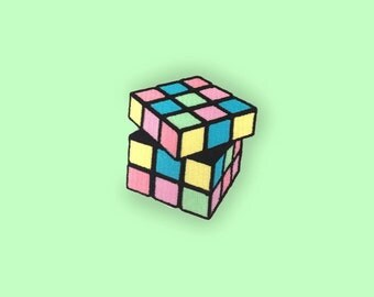 Pastel Rubik's Cube Iron-on Embroidered Patch