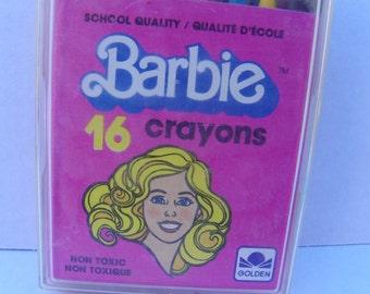 Vintage Barbie Crayons 16 Pack , Vintage 1983 Mattel Barbie Accessories , Barbie Coloring , Barbie Stationary , Barbie School Supplies