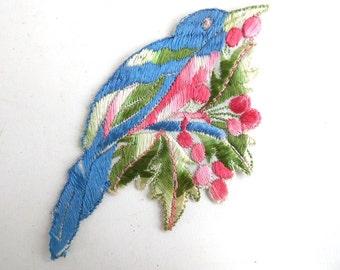 Bird Applique, 1930s Vintage Embroidered Bird  applique, application, patch. Vintage patch, sewing supply, antique applique.  #64AG1B6K2A