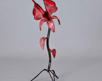 REDUCED Mid Century Iron and Red Leather Tulip Table Lamp [4057]