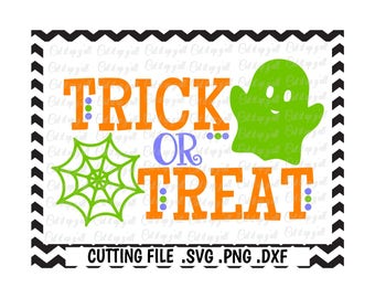 Trick or Treat Svg, Halloween Svg, Ghost Svg, Spider Web Svg, Cut Files for Cricut, Silhouette Cameo, Instant Download.