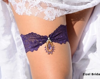 Wedding Garter, Bridal Garter,  Lace Garte Set, Purple Bridal Garter, Dark Purple Garter, Wedding Clothing, Lavender Garter, Eggplant Garter