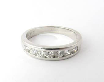 Vintage 14K White Gold and Channel Set Diamond Band Size 5.5 #1235