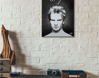 Sting - minimalist poster - Poster minimalista, music poster, singer poster, vintage, The Police