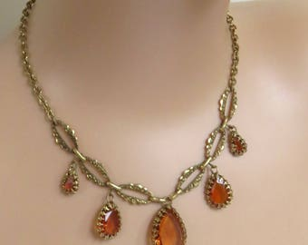 Vintage Ornate Gold Tone 50's Necklace with Amber Coloured Glass Claw Set Drops, Signed Germany