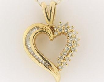 Diamond Heart Pendant - 14k Yellow Gold Pendant 0.5 cttw
