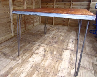 Rustic Industrial Solid Dining Table Reclaimed Recycled Wood Hairpin Legs