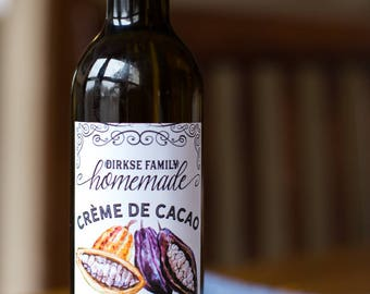 Customized Label - Creme de Cacao, Crème de Cacao, Cocoa, Homemade Chocolate Liqueur, Cacao Nib Spirits - Label for Your Homemade Liqueurs