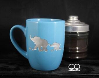 Elephant Ceramic Mug - Etched Coffee Mug - Tea Mug - Hand Painted - Animal Lover - Etched