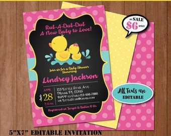 Rubber Duck Baby Shower Invitation-Self-Editing Chalkboard Rubber Ducky Baby Shower Invite-Printable Yellow Duck Party Invitation-B408-P