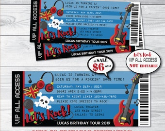 Rock Star Birthday Invitation-Instant Download Self-Editing Printable Rock Star Party Invite-Rock & Roll Party-Rock Party-Pop Star-First
