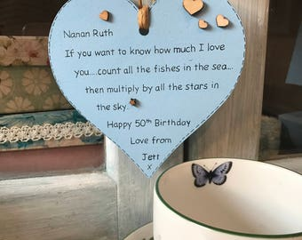 Wooden heart Hanging heart Heart plaque Personalized plaque Personalised plaque If you want to know how much we love you Personalised gift
