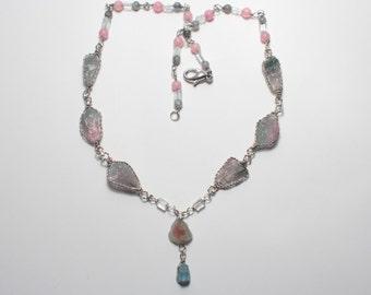Watermelon tourmaline Necklace. Tourmaline Necklace. Aquamarine Necklace. Polychromatic tourmaline Necklace