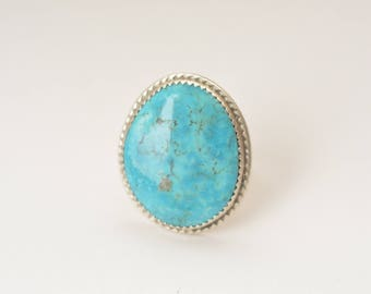 Large sterling silver turquoise ring, blue, big ring, Zuni, Navaho style, wolf fang setting, rope design