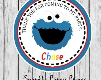 Cookie Monster Party Stickers, Cookie Monster Stickers, Cookie Monster Thank You Stickers, Birthday Stickers, Printed and Shipped