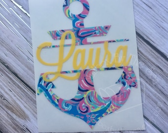 Lilly Pulitzer Inspired Anchor Name Decal | Yeti Decal |  Lilly Car Decal | Lilly Name Decal | Car Decal | Anchor Decal | Lilly Sticker