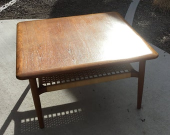 Extraordinary Mid-Century Coffee/Side Table With Rush/Cane Shelf Danish Modern And Very Sleek