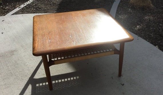 Extraordinary Mid-Century Coffee/Side Table With Rush/Cane Shelf Danish Modern And Very Sleek