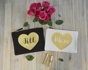 Personalised Make-up Bag, Cosmetic Bag, Heart, Gold Glitter Design, Accessory Case, Name, Personalised Gift