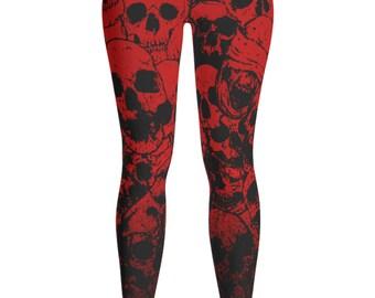Skull Leggings - Red Skull Costume - Skull Costume - Halloween leggings - Day of the Dead - Patterned Leggings - Kids Leggings