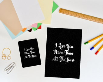 "Postcard & Wallet Card Set ""I Love You More Than All The Stars"""