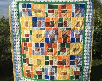 Picket Fence Quilt / Spring / Summer / Colorful / Orange / Yellow / Green / Blue / Sunshine