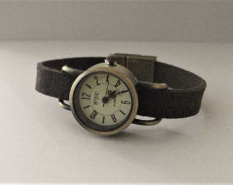 Women watch, minimalist watch, minimalist women watch, retro style watch, grayish brown suede strap watch,custom-made strap watch by JuSal08