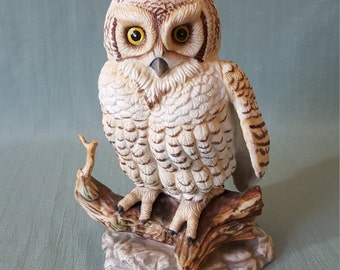 Hand Painted Porcelain Owl Figurine - Made in Mexico E-9029