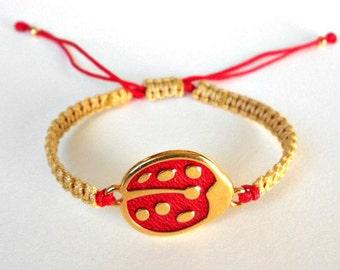 Ladybug Bracelet, Enamel Ladybug, Macrame Bracelet, Macrame Knot, Synthetic Satin Cord, Metal Beads