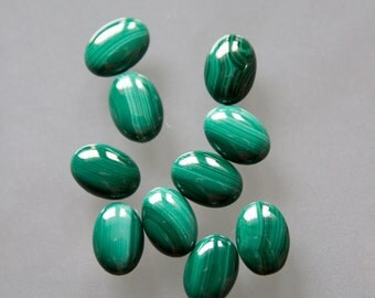 14X10mm Oval Malachite Cabochon with Flat Back and Medium Dome--sold as pair of stones (2) - ISC
