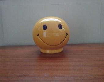 Vintage, Pottery Smiley Face Coin Piggy Bank
