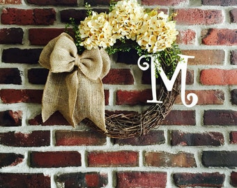 Spring Monogram Wreath-Hydrangea Wreath-Door Wreaths-Initial Wreath-Monogram Wreath-Monogrammed Wreath-Spring Wreath-Rustic Wreath
