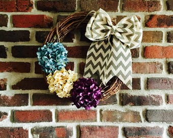 Hydrangea Wreath-Summer Wreath-Front Door Wreath-Everyday Wreath-Unique Wreath-Hydrangea Wreath-Year Round Wreath-Rustic Wreath