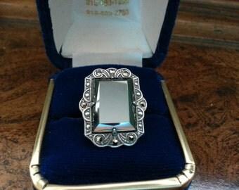 Vintage UNCAS Art Deco Sterling Silver, Hematite & Marcasite Ring - Size 4 1/4