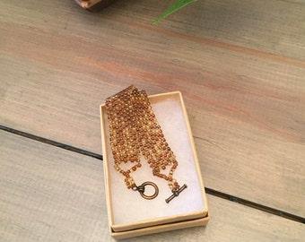 Natural beaded woven bracelet