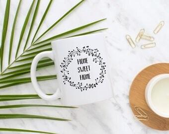 home sweet home, gift for her, housewarming gift, home mug, flower mug, gift, present, coffee mug, tea mug, mother's day gift, gift for mom