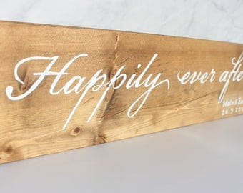 Happily Ever After Wooden Personalized Wedding Sign Gift - Wedding Date Wood Sign - Personalized Wooden Gift - Custom Wood Sign - Wood Sign