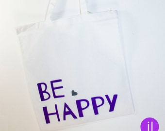 Cotton bag 'be happy' (with long handles)