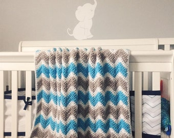 Baby Blanket // Unisex, Made to Order, Chevron or Corner to Corner Blanket; Baby Shower Gift Idea